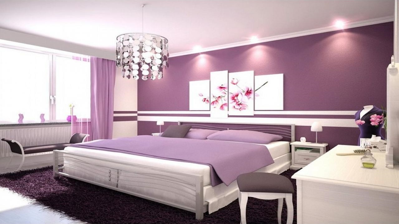 Фиолетовая футуристическая спальня, фото
