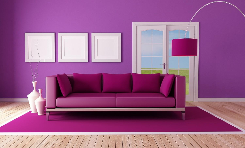 Доминирующий фиолетовый в зале