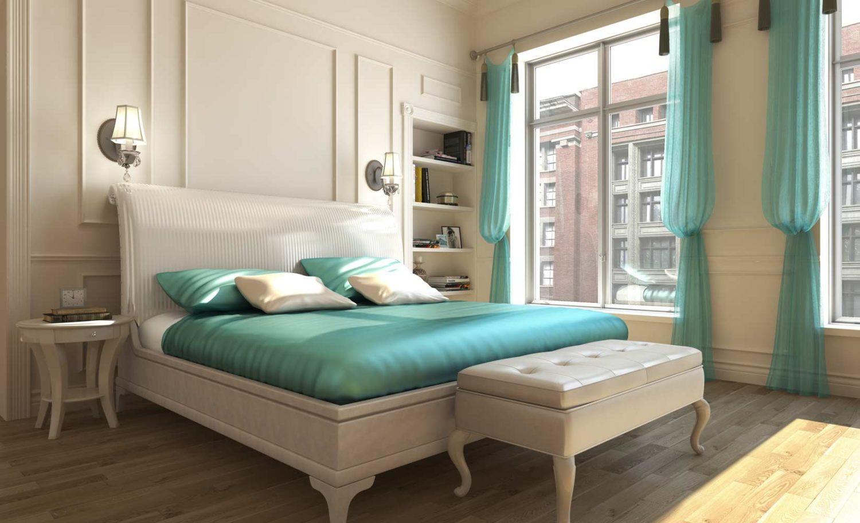 Бирюзовые элементы в спальне