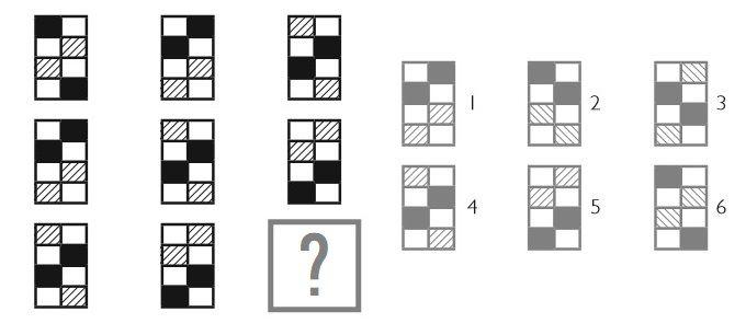 В каждой колонке черные, белые и заштрихованные участки двигаются на один квадрат ближе.