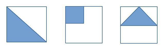 На каких из них площадь закрашенной фигуры наименьшая?
