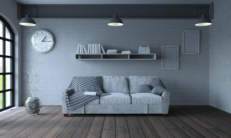 Белый цвет в интерьере с вкраплениями серого и коричневым полом