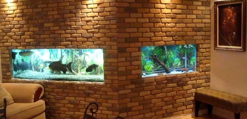 Аквариумы, встроенные в стену